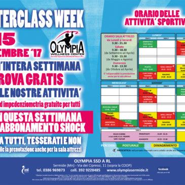 MASTERCLASS WEEK 11-15 settembre '17